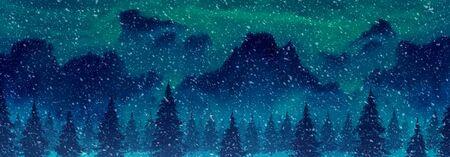 山と雪の松の木のイラスト冬の風景
