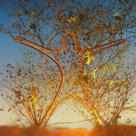 Human shaped tree growing happy in sunset (3d illustration)