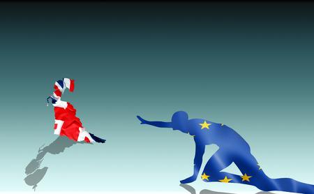 Brexit: ironic illustration of snob UK leaving desperate EU