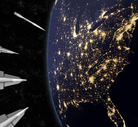 미국을 공격하는 핵 미사일 접근