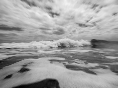 Emotional shot of powerful wave black and white Stock Photo