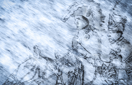 Napoleon and cavalry struggling through Russian winter on their way to defeat