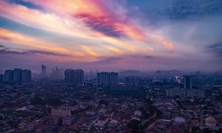 Aerial shot at sunrise of Petaling Jaya, suburb of Kuala Lumpur, Malaysia