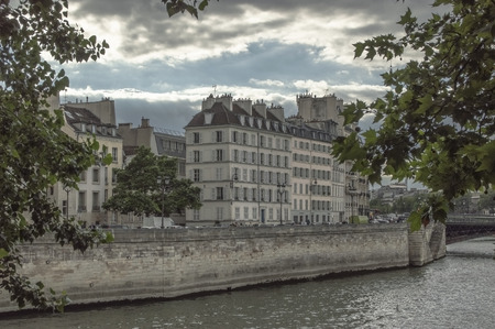 A hidden view point to Parisian houses on the embankment