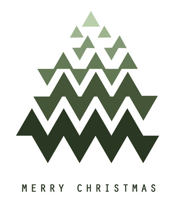 Minimalist geometrical Christmas tree with text