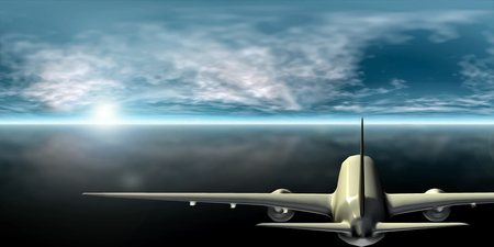Airliner flying towards the horizon and sun (3D Rendering) Imagens