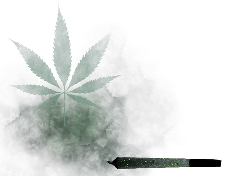 Cannabis joint creating a marijuana leaf of smoke on white Stock Photo