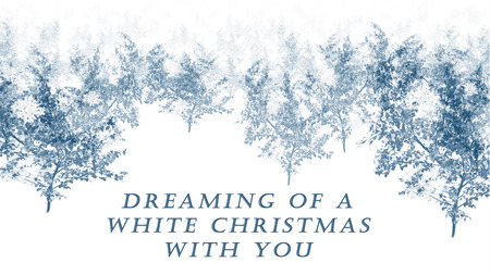 Blue simple white Christmas card with trees and text