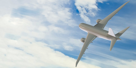 Airliner in the blue sky amongst clouds (3D Rendering) Stok Fotoğraf
