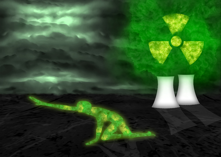 Toxic cloud coming from nuclear reactor and radioactive person dying
