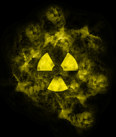 Nuclear symbol on yellow fluo toxic cloud