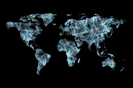 Mappa del mondo fatta di connessioni tecnologiche