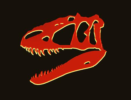Neon red t-rex skull on black