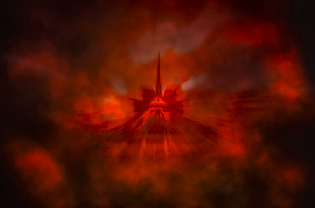 Conceptual Notre-Dame cathedral in red smoke and fire Banque d'images