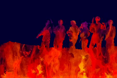 Outline of modern soldiers walking over colourful flames