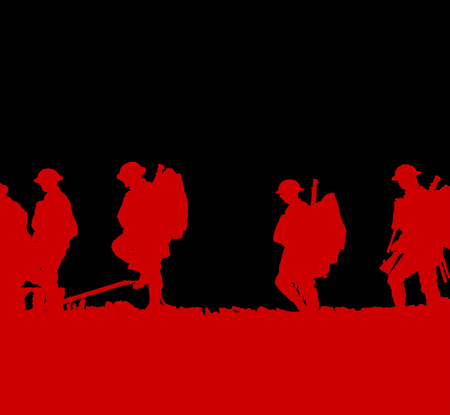 Outline of WWI soldiers walking Stock Photo