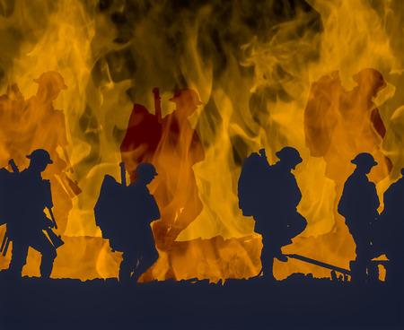 Esquema de los soldados de la Primera Guerra Mundial caminando sobre llamas de colores