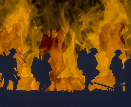 Outline of WWI soldiers walking over colourful flames