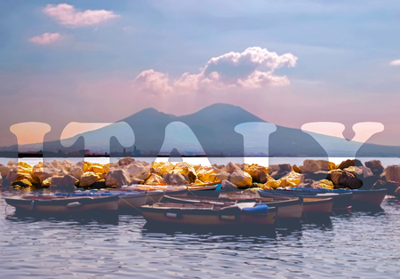 Commercial view of Naples and Vesuvius with Italy written