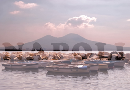 Commercial view of Naples and Vesuvius with Napoli written