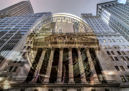 Bitcoin with wall street stock exchange facade on background Stock Photo