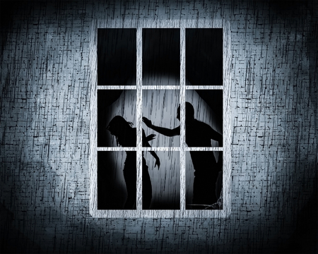 Observed male abusing violently a female inside a window