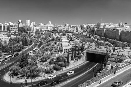 View of Jerusalem from above black and white Banco de Imagens