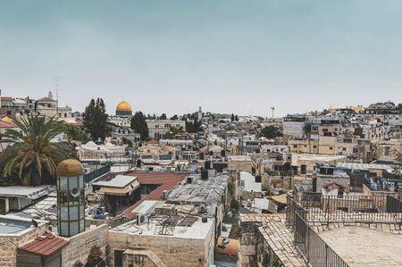 View of Jerusalem from above vintage style Banco de Imagens