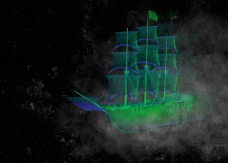 Flying ghost green galleon in space