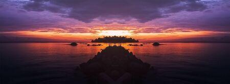 Banner of panorama of beautiful sunset over beach