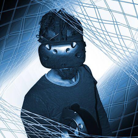 Man using VR technology in a virtual geometric blue world