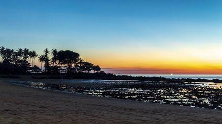 Panorama of beautiful sunset over beach