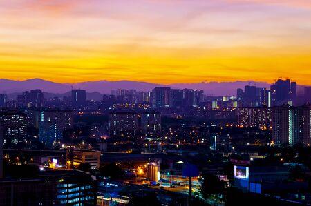 Vibrant purple sunset over Petaling Jaya, Malaysia