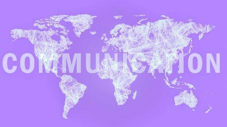 Communication across the worldmap purple