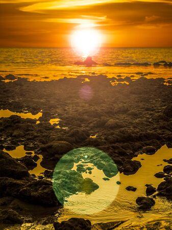 Orange sunset on sea Banco de Imagens