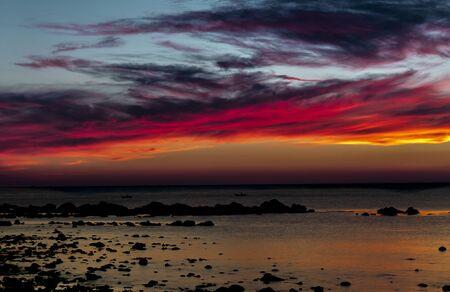 Panorama of beautiful sunset over ocean Banco de Imagens