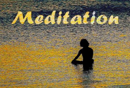 Commercial background of a man meditating in the sea