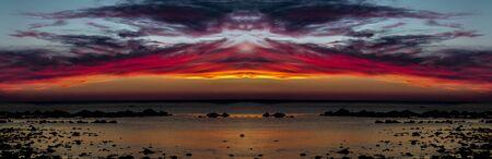 Banner of beautiful sunset over ocean Banco de Imagens