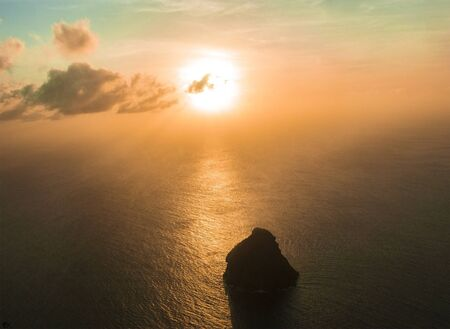 Le Diamant rock in Martinique island at sunset from above Archivio Fotografico
