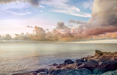 Seascape with rocks and beautiful sky in Martinique
