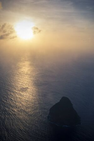 Le Diamant rock in Martinique island at sunset from above Stock Photo