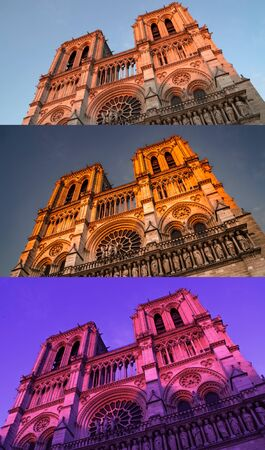 Notre Dame cathedral in three different times of the day