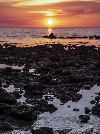 Orange sunset on sea Archivio Fotografico
