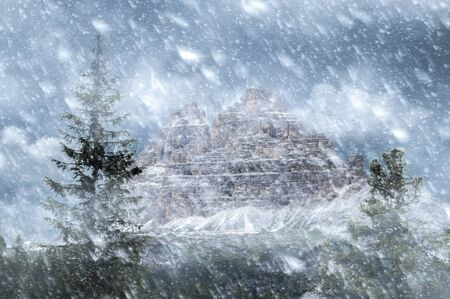 Tre cime mountains in snow storm
