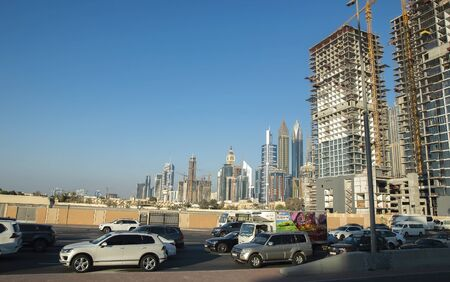 Traffic and construction in Dubai centre