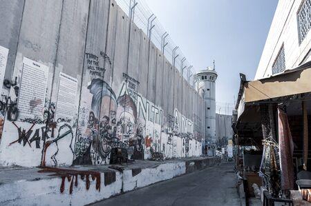 Wall between Palestine and Israel with Banksy graffiti
