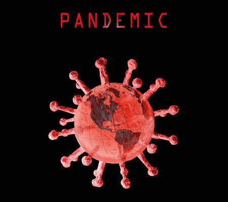 Coronavirus engulfing the world with pandemic text alert Archivio Fotografico