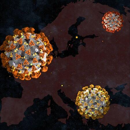 Coronavirus over Europe map