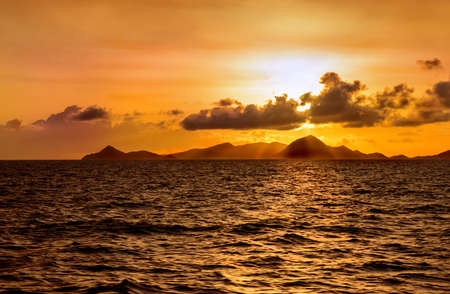 Sunset over island in the Caribbean