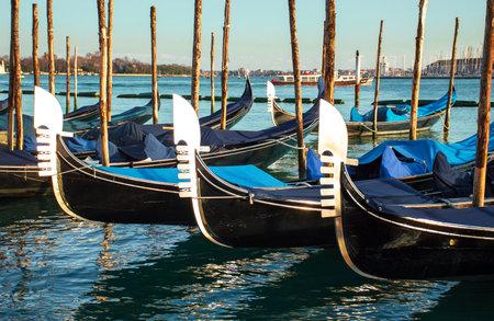 Gondolas in a harbour, Venice Archivio Fotografico